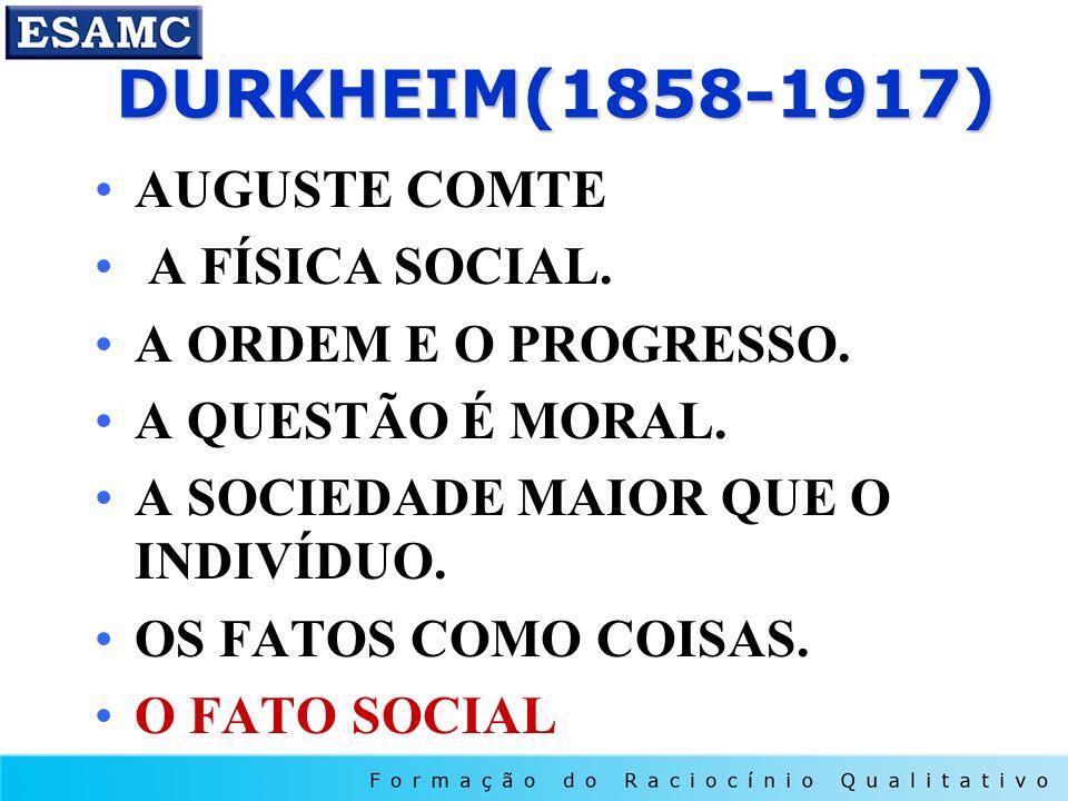 DURKHEIM(1858-1917) DURKHEIM(1858-1917) AUGUSTE COMTE A FÍSICA SOCIAL. A ORDEM E O PROGRESSO. A QUESTÃO É MORAL. A SOCIEDADE MAIOR QUE O INDIVÍDUO. OS