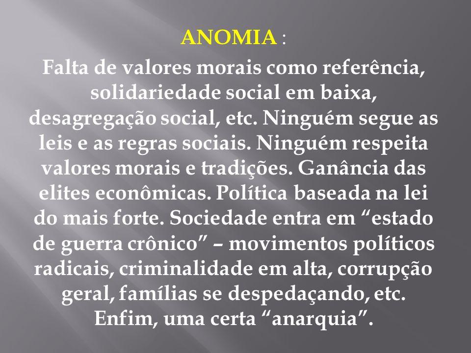 ANOMIA : Falta de valores morais como referência, solidariedade social em baixa, desagregação social, etc. Ninguém segue as leis e as regras sociais.