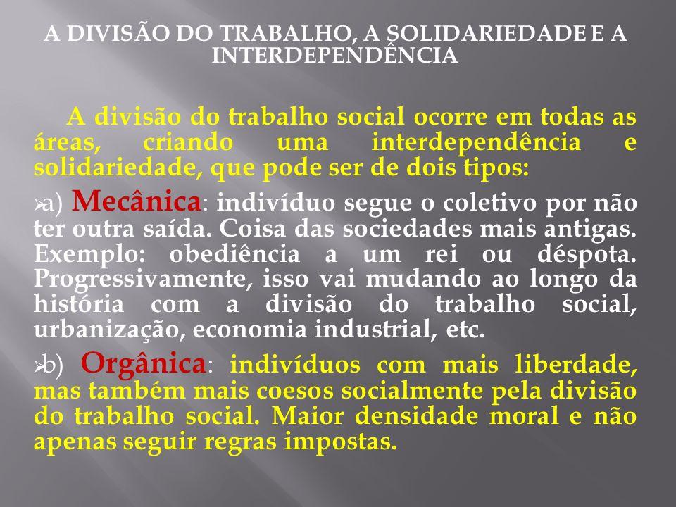 A DIVISÃO DO TRABALHO, A SOLIDARIEDADE E A INTERDEPENDÊNCIA A divisão do trabalho social ocorre em todas as áreas, criando uma interdependência e soli