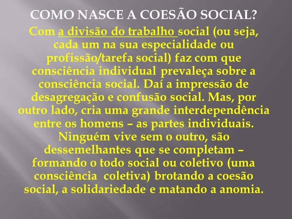 COMO NASCE A COESÃO SOCIAL? Com a divisão do trabalho social (ou seja, cada um na sua especialidade ou profissão/tarefa social) faz com que consciênci