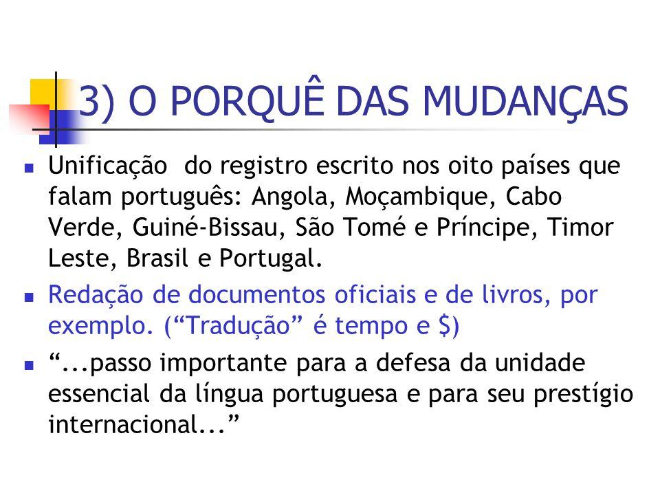 3) O PORQUÊ DAS MUDANÇAS Unificação do registro escrito nos oito países que falam português: Angola, Moçambique, Cabo Verde, Guiné-Bissau, São Tomé e