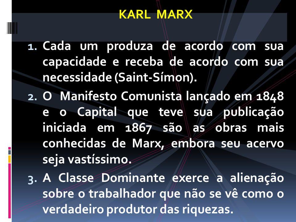 KARL MARX 1. Cada um produza de acordo com sua capacidade e receba de acordo com sua necessidade (Saint-Símon). 2. O Manifesto Comunista lançado em 18