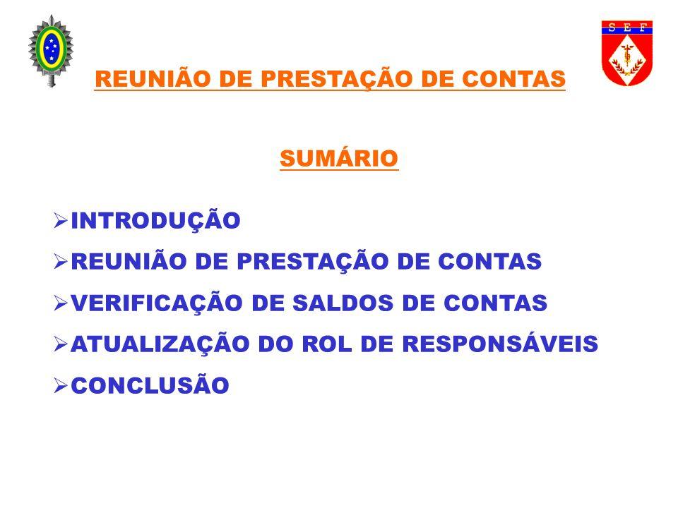 INTRODUÇÃO REUNIÃO DE PRESTAÇÃO DE CONTAS VERIFICAÇÃO DE SALDOS DE CONTAS ATUALIZAÇÃO DO ROL DE RESPONSÁVEIS CONCLUSÃO SUMÁRIO REUNIÃO DE PRESTAÇÃO DE
