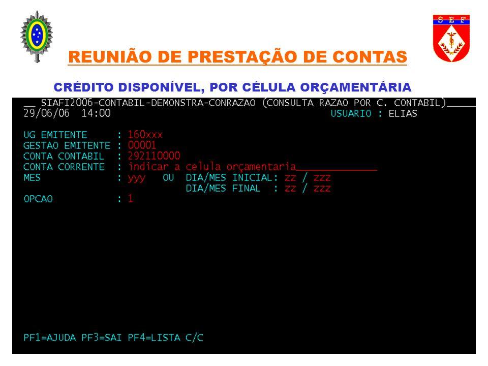 CRÉDITO DISPONÍVEL, POR CÉLULA ORÇAMENTÁRIA REUNIÃO DE PRESTAÇÃO DE CONTAS