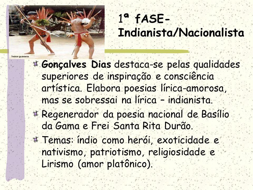 1ª fASE- Indianista/Nacionalista Gonçalves Dias destaca-se pelas qualidades superiores de inspiração e consciência artística. Elabora poesias lírica-a