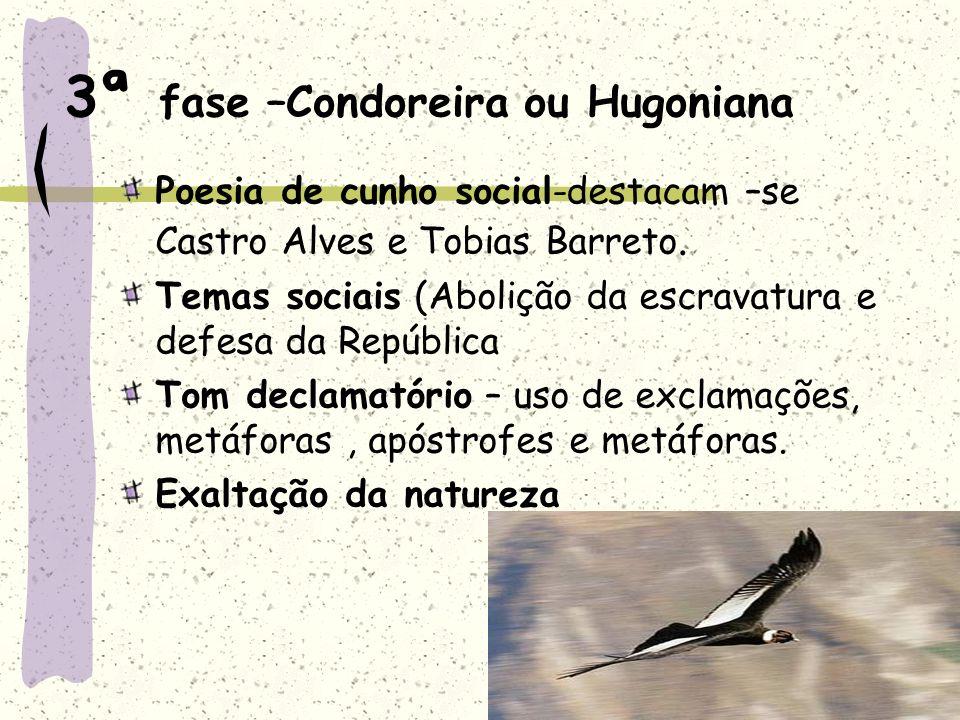 3ª fase –Condoreira ou Hugoniana Poesia de cunho social-destacam –se Castro Alves e Tobias Barreto. Temas sociais (Abolição da escravatura e defesa da