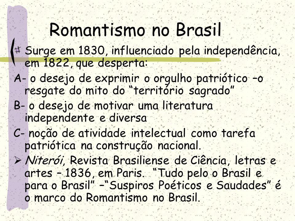 Romantismo no Brasil Surge em 1830, influenciado pela independência, em 1822, que desperta: A- o desejo de exprimir o orgulho patriótico –o resgate do