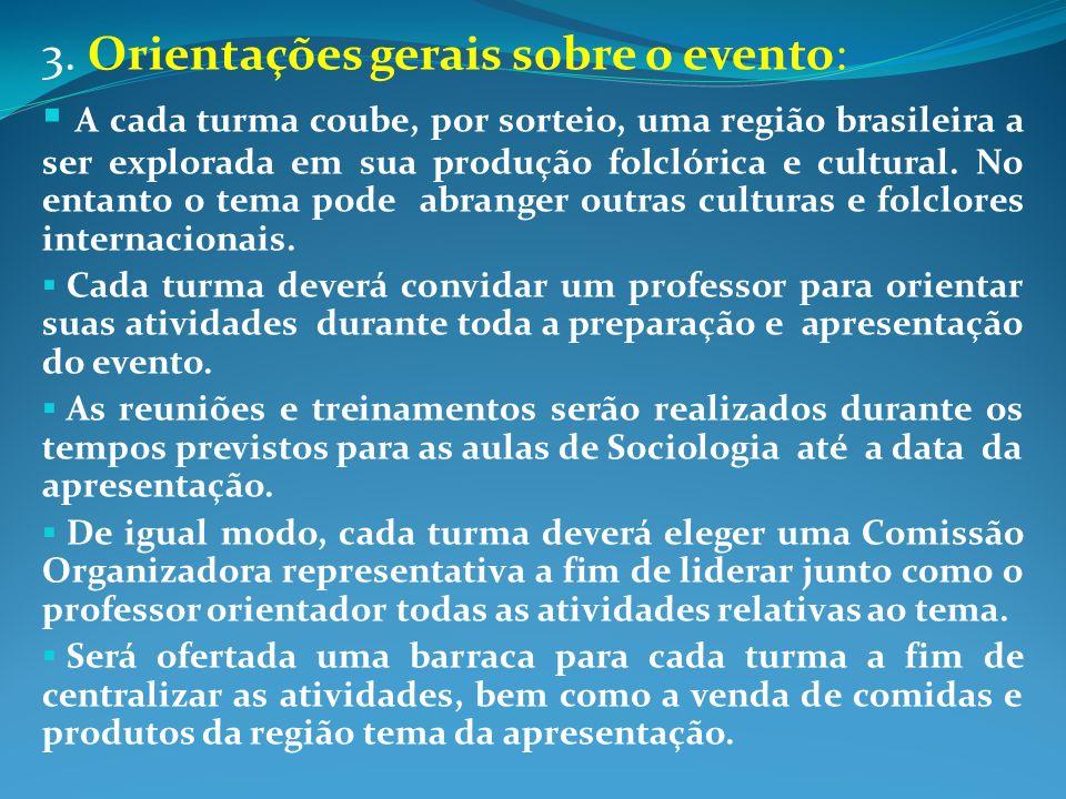 3. Orientações gerais sobre o evento: A cada turma coube, por sorteio, uma região brasileira a ser explorada em sua produção folclórica e cultural. No