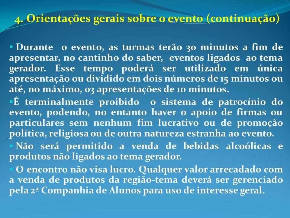 4. Orientações gerais sobre o evento (continuação) Durante o evento, as turmas terão 30 minutos a fim de apresentar, no cantinho do saber, eventos lig