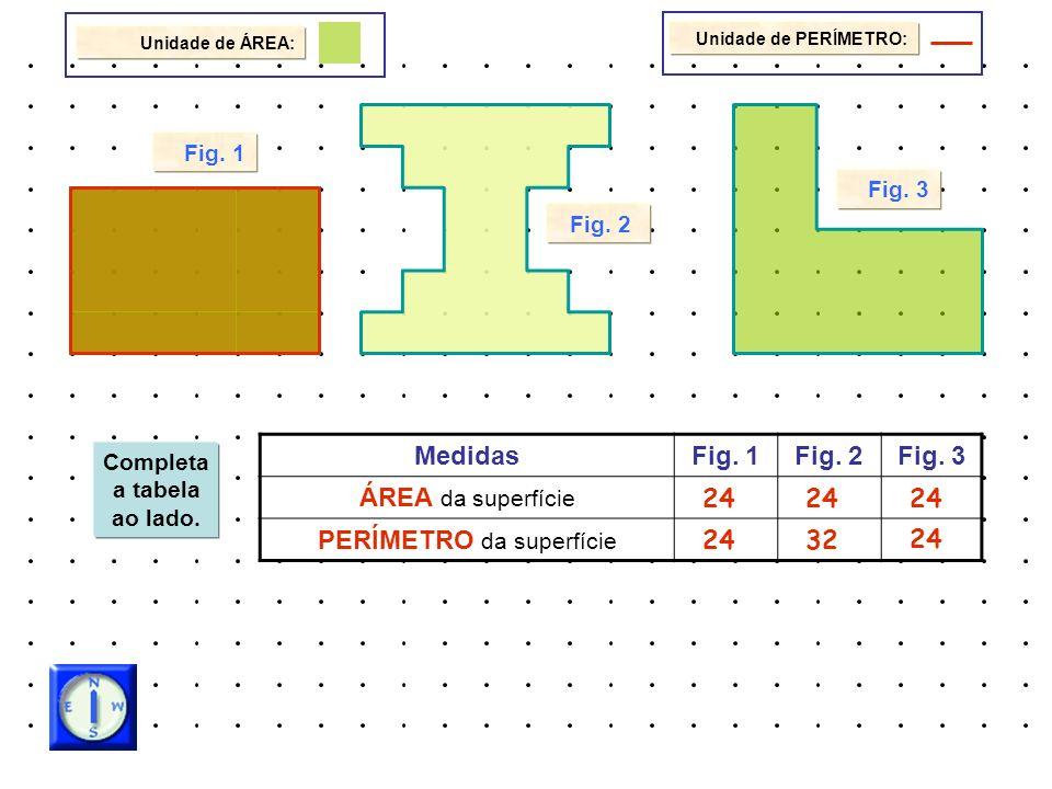 Unidade de ÁREA: Fig. 1 Fig. 3 Fig. 2 Unidade de PERÍMETRO: Completa a tabela ao lado. MedidasFig. 1Fig. 2Fig. 3 ÁREA da superfície PERÍMETRO da super