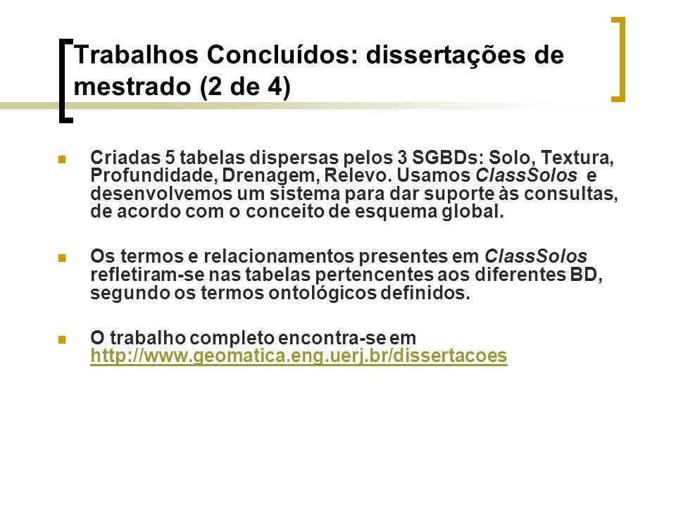 Trabalhos Concluídos: dissertações de mestrado (2 de 4) Criadas 5 tabelas dispersas pelos 3 SGBDs: Solo, Textura, Profundidade, Drenagem, Relevo. Usam