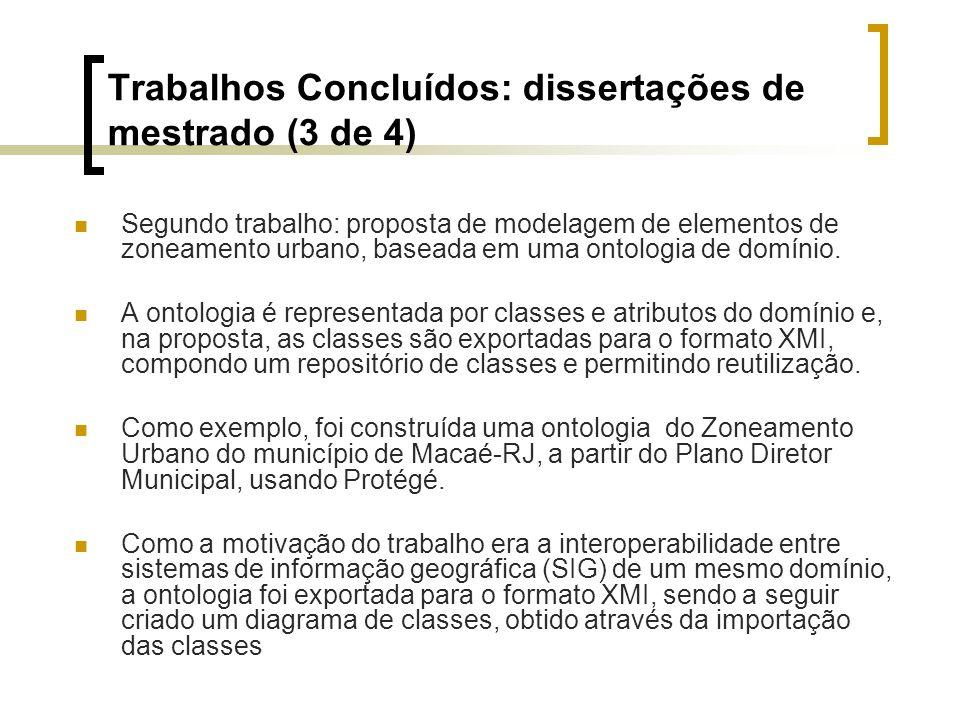 Trabalhos Concluídos: dissertações de mestrado (3 de 4) Segundo trabalho: proposta de modelagem de elementos de zoneamento urbano, baseada em uma onto