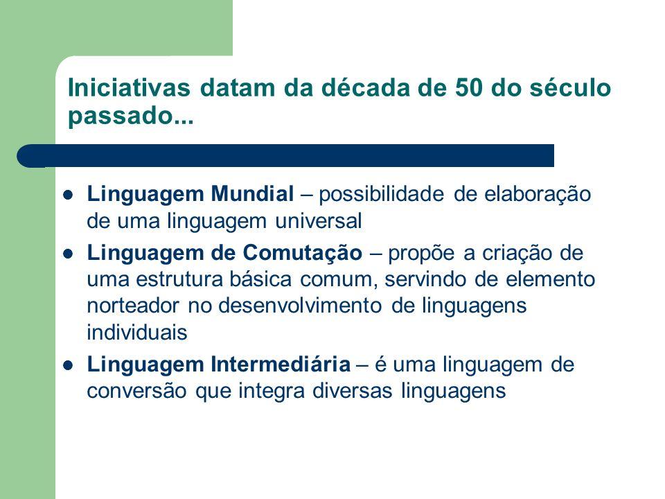 Iniciativas datam da década de 50 do século passado... Linguagem Mundial – possibilidade de elaboração de uma linguagem universal Linguagem de Comutaç