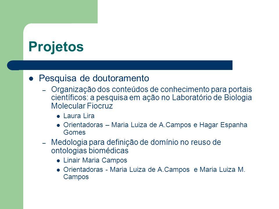 Projetos Pesquisa de doutoramento – Organização dos conteúdos de conhecimento para portais científicos: a pesquisa em ação no Laboratório de Biologia