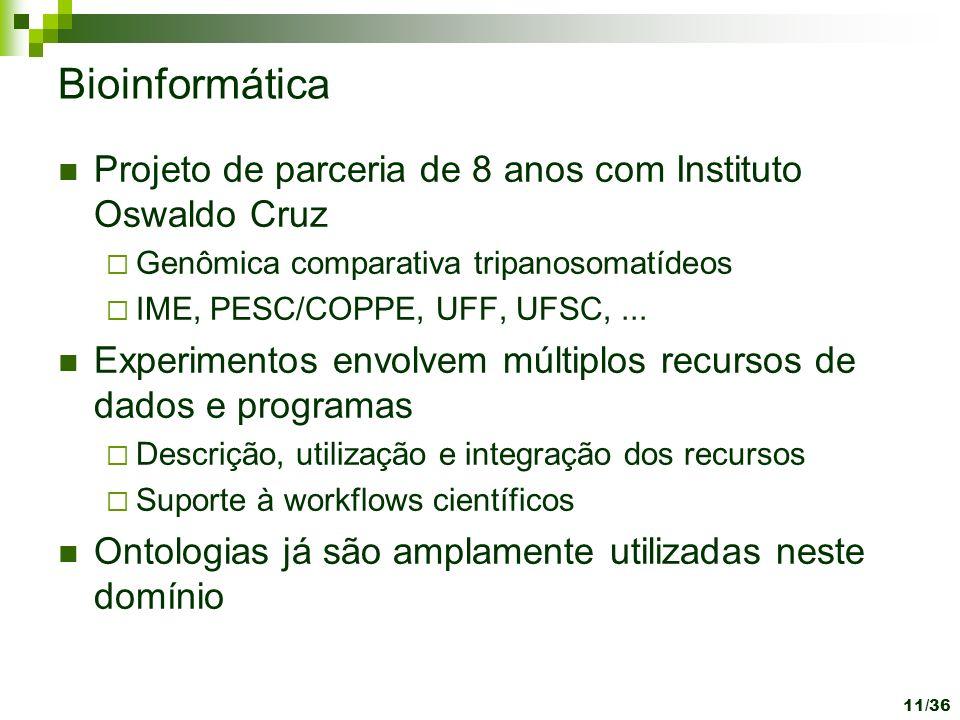 Bioinformática Projeto de parceria de 8 anos com Instituto Oswaldo Cruz Genômica comparativa tripanosomatídeos IME, PESC/COPPE, UFF, UFSC,... Experime