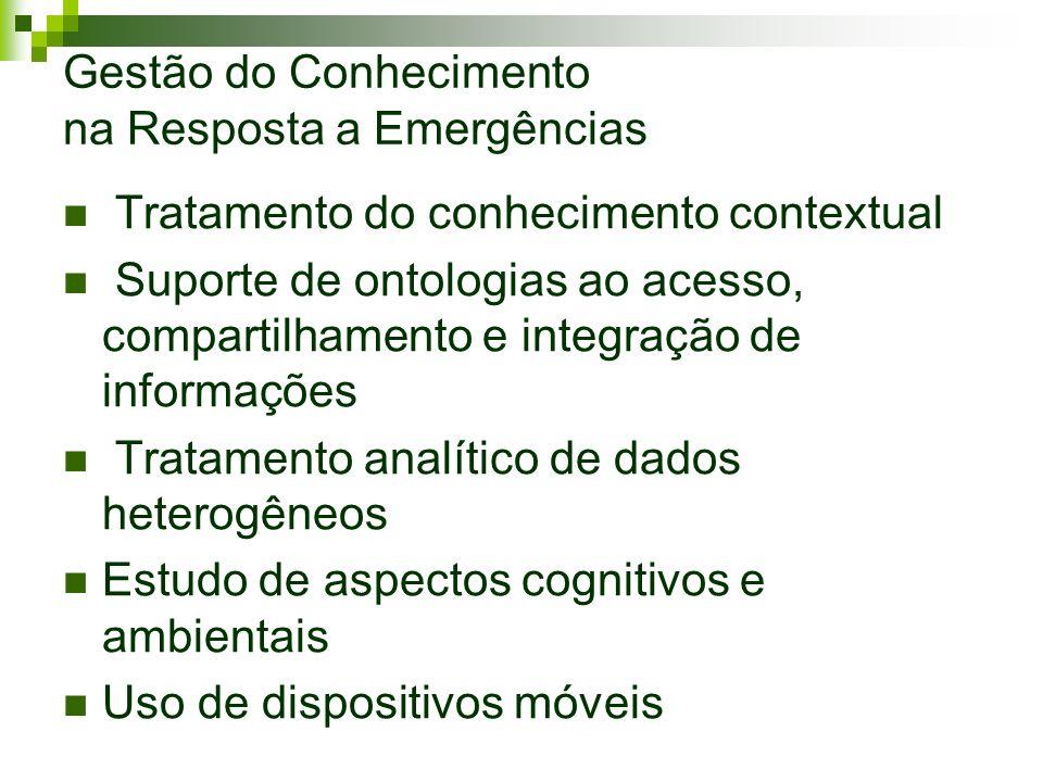 Gestão do Conhecimento na Resposta a Emergências Tratamento do conhecimento contextual Suporte de ontologias ao acesso, compartilhamento e integração