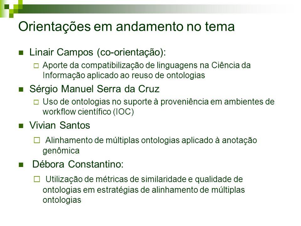Orientações em andamento no tema Linair Campos (co-orientação): Aporte da compatibilização de linguagens na Ciência da Informação aplicado ao reuso de