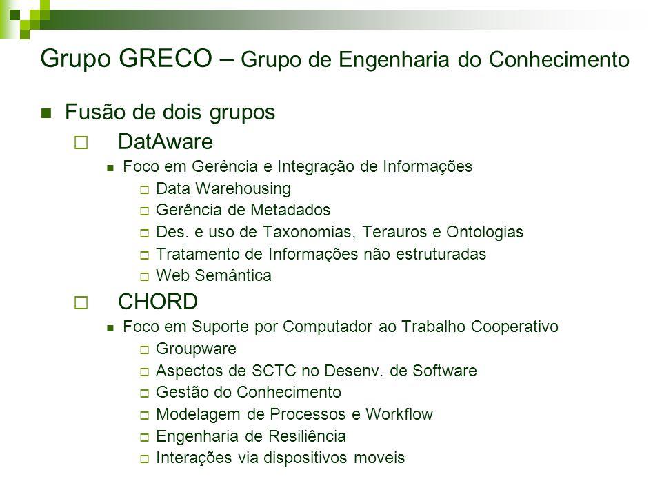 Grupo GRECO – Grupo de Engenharia do Conhecimento Fusão de dois grupos DatAware Foco em Gerência e Integração de Informações Data Warehousing Gerência
