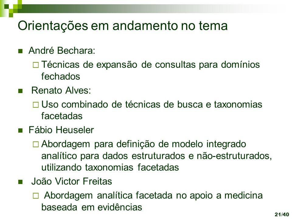 21/40 Orientações em andamento no tema André Bechara: Técnicas de expansão de consultas para domínios fechados Renato Alves: Uso combinado de técnicas