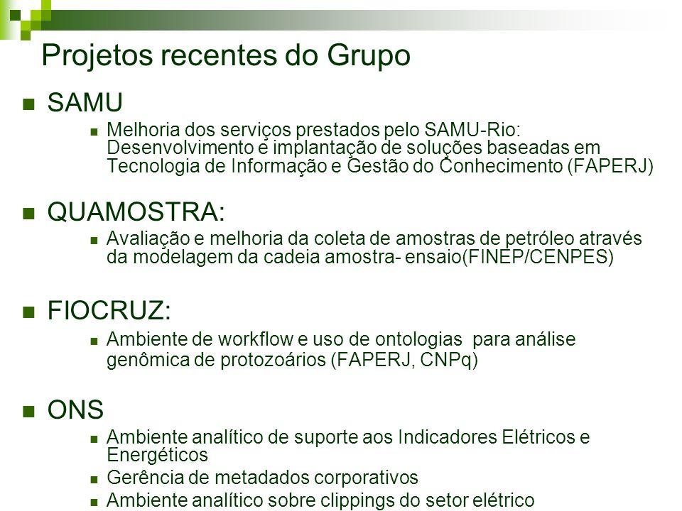 Projetos recentes do Grupo SAMU Melhoria dos serviços prestados pelo SAMU-Rio: Desenvolvimento e implantação de soluções baseadas em Tecnologia de Inf