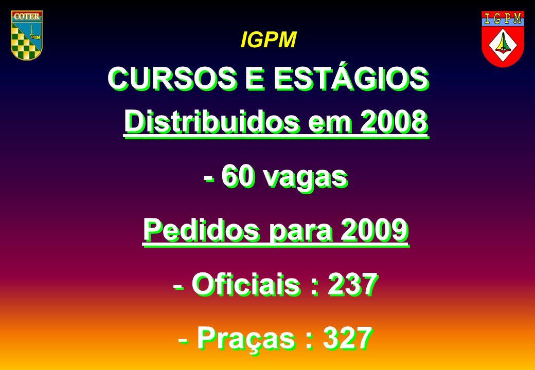 IGPM CURSOS E ESTÁGIOS Distribuidos em 2008 - 60 vagas Pedidos para 2009 - Oficiais : 237 - Praças : 327 - Distribuidos em 2008 - 60 vagas Pedidos par