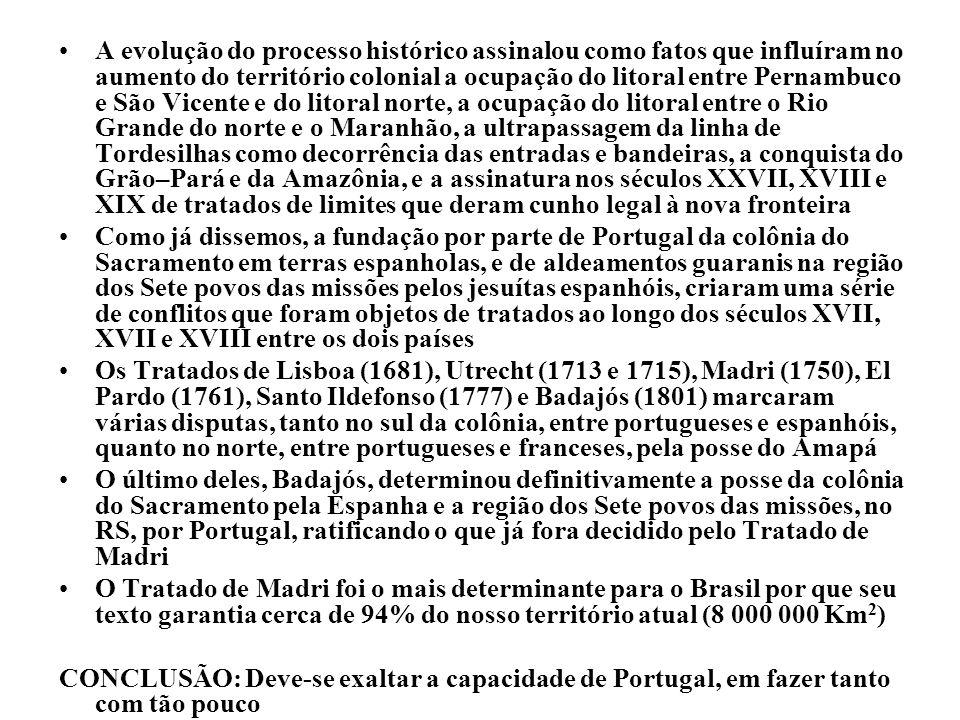 A evolução do processo histórico assinalou como fatos que influíram no aumento do território colonial a ocupação do litoral entre Pernambuco e São Vic