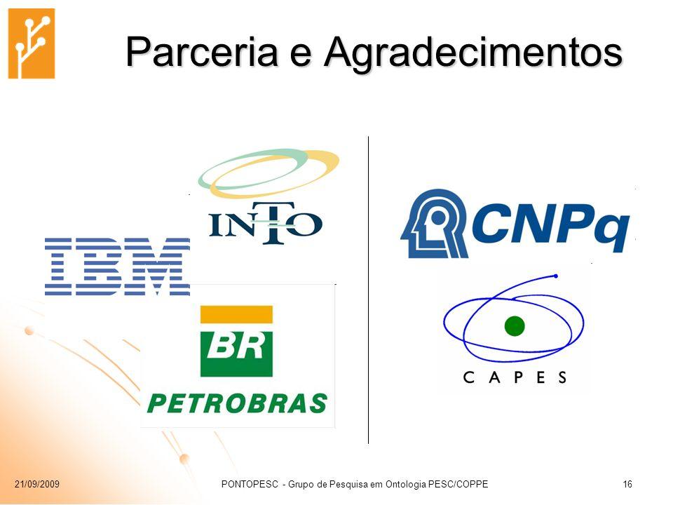 21/09/2009PONTOPESC - Grupo de Pesquisa em Ontologia PESC/COPPE16 Parceria e Agradecimentos