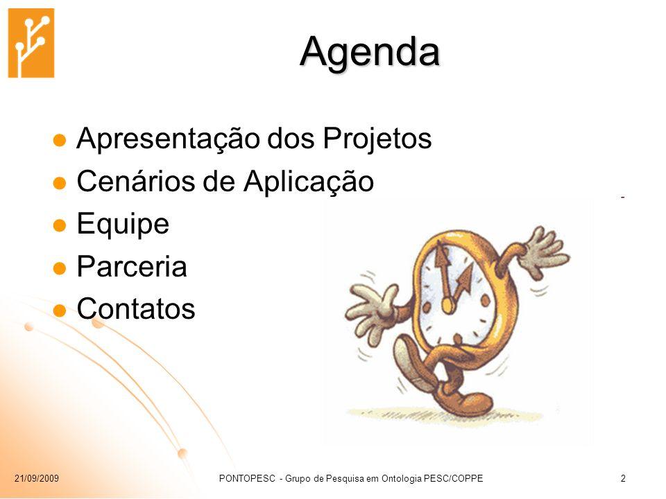 21/09/2009PONTOPESC - Grupo de Pesquisa em Ontologia PESC/COPPE2 Agenda Apresentação dos Projetos Cenários de Aplicação Equipe Parceria Contatos