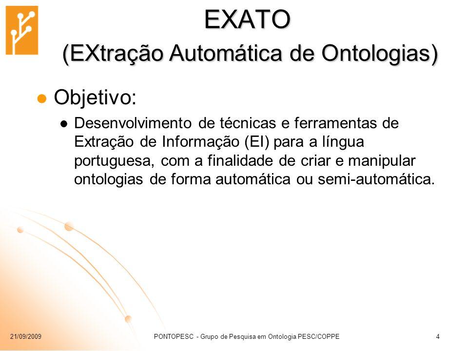 21/09/2009PONTOPESC - Grupo de Pesquisa em Ontologia PESC/COPPE4 EXATO (EXtração Automática de Ontologias) Objetivo: Desenvolvimento de técnicas e fer