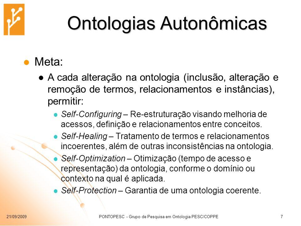 21/09/2009PONTOPESC - Grupo de Pesquisa em Ontologia PESC/COPPE7 Ontologias Autonômicas Meta: A cada alteração na ontologia (inclusão, alteração e rem