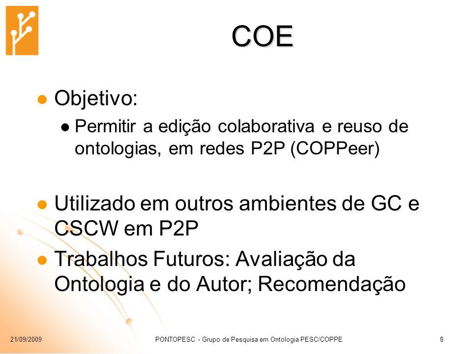 21/09/2009PONTOPESC - Grupo de Pesquisa em Ontologia PESC/COPPE8 COE Objetivo: Permitir a edição colaborativa e reuso de ontologias, em redes P2P (COP
