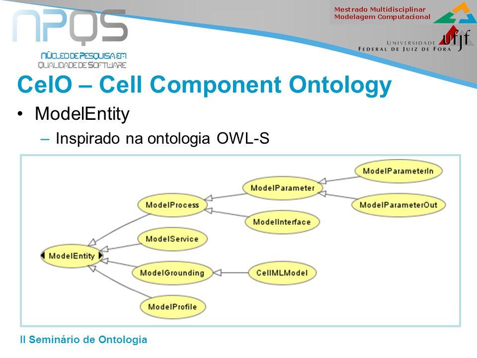 II Seminário de Ontologia CelO – Cell Component Ontology ModelEntity –Inspirado na ontologia OWL-S