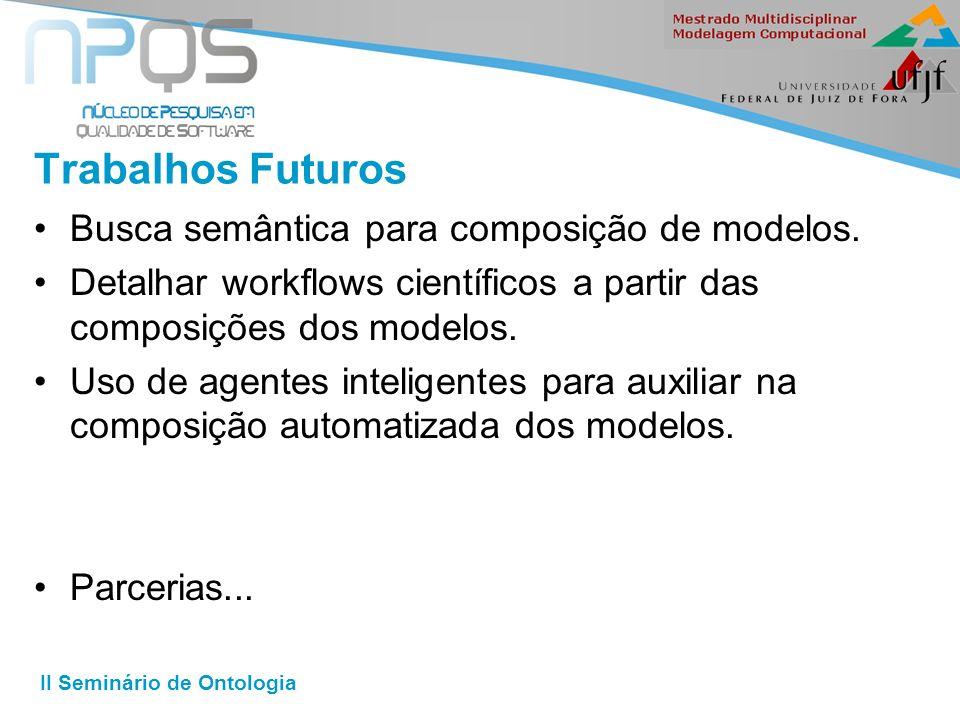 II Seminário de Ontologia Trabalhos Futuros Busca semântica para composição de modelos.