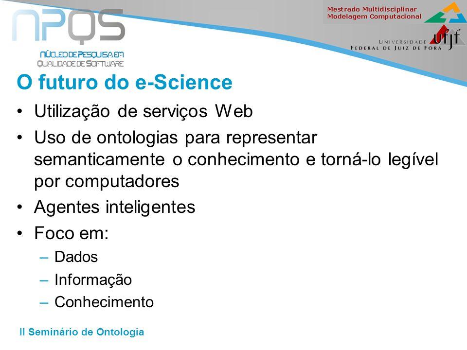 II Seminário de Ontologia O futuro do e-Science Utilização de serviços Web Uso de ontologias para representar semanticamente o conhecimento e torná-lo legível por computadores Agentes inteligentes Foco em: –Dados –Informação –Conhecimento