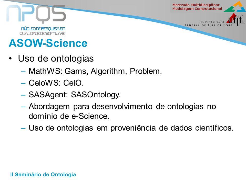 II Seminário de Ontologia ASOW-Science Uso de ontologias –MathWS: Gams, Algorithm, Problem.