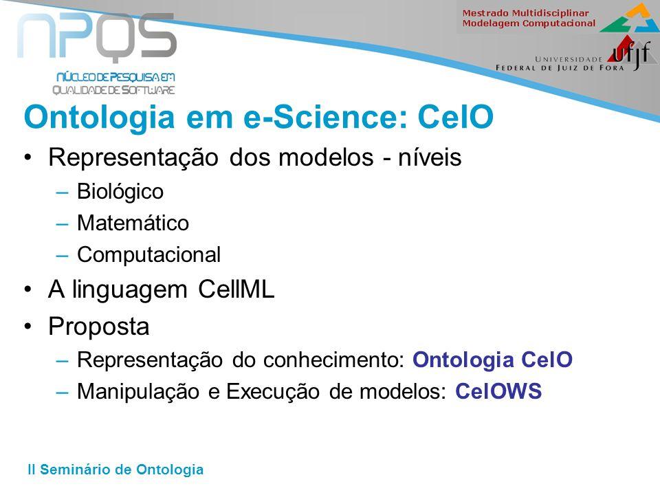II Seminário de Ontologia Ontologia em e-Science: CelO Representação dos modelos - níveis –Biológico –Matemático –Computacional A linguagem CellML Proposta –Representação do conhecimento: Ontologia CelO –Manipulação e Execução de modelos: CelOWS