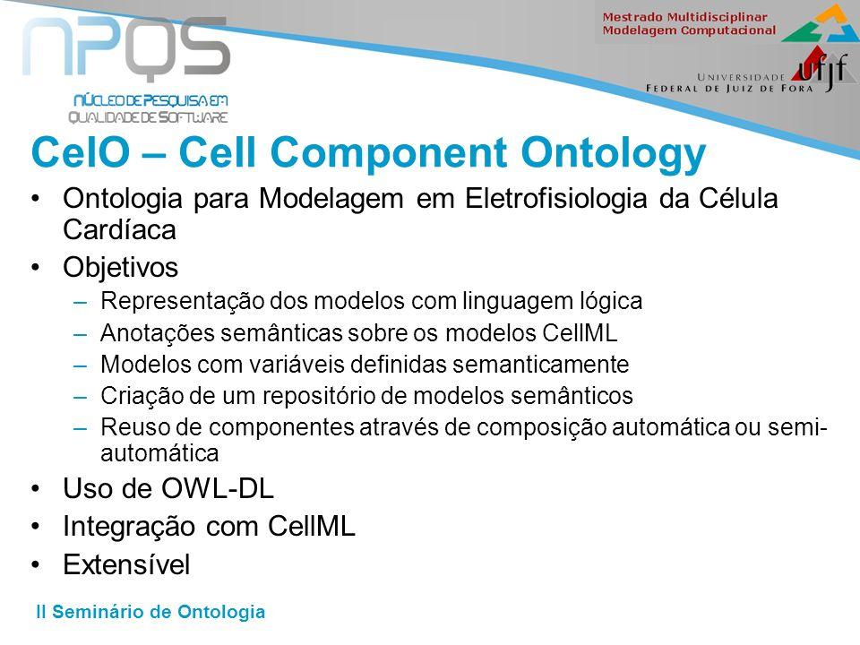 II Seminário de Ontologia CelO – Cell Component Ontology Ontologia para Modelagem em Eletrofisiologia da Célula Cardíaca Objetivos –Representação dos modelos com linguagem lógica –Anotações semânticas sobre os modelos CellML –Modelos com variáveis definidas semanticamente –Criação de um repositório de modelos semânticos –Reuso de componentes através de composição automática ou semi- automática Uso de OWL-DL Integração com CellML Extensível