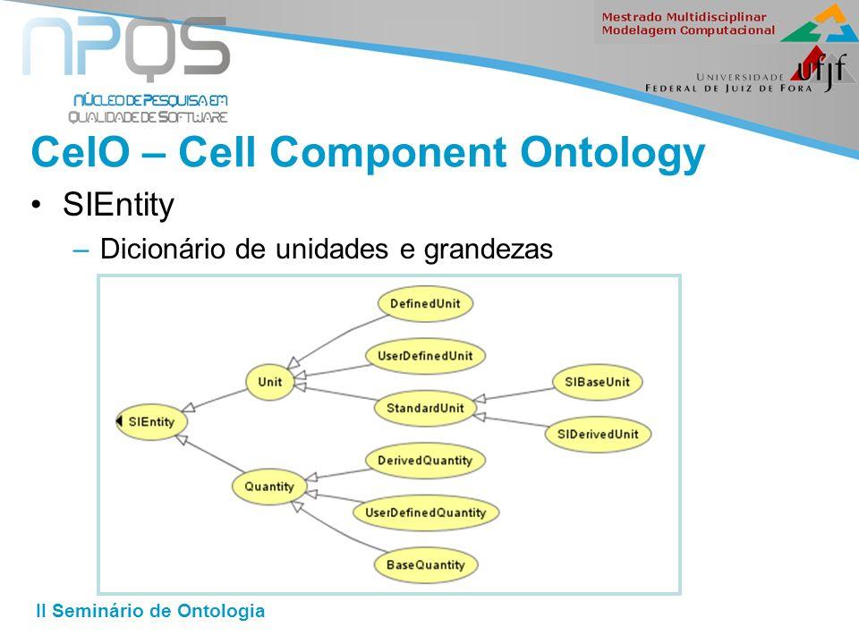 II Seminário de Ontologia CelO – Cell Component Ontology SIEntity –Dicionário de unidades e grandezas