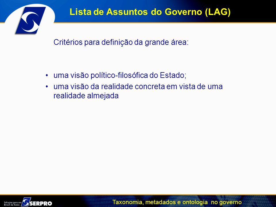 Taxonomia, metadados e ontologia no governo Critérios para definição da grande área: uma visão político-filosófica do Estado; uma visão da realidade c