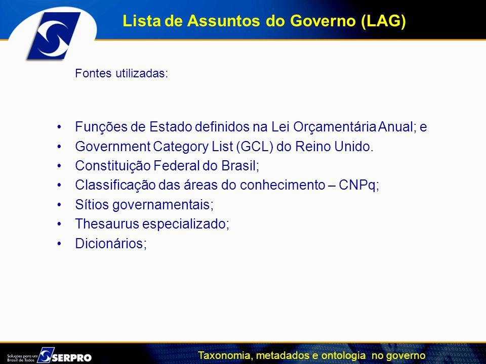Taxonomia, metadados e ontologia no governo Fontes utilizadas: Funções de Estado definidos na Lei Orçamentária Anual; e Government Category List (GCL)