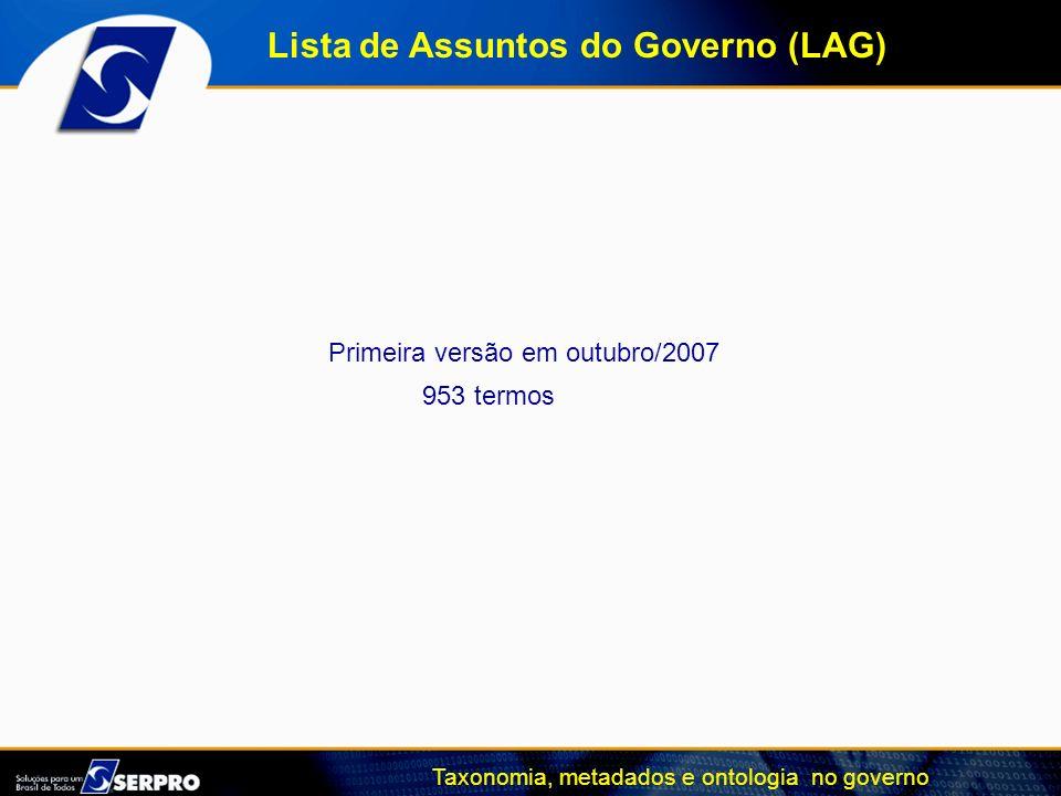 Taxonomia, metadados e ontologia no governo Primeira versão em outubro/2007 953 termos Lista de Assuntos do Governo (LAG)