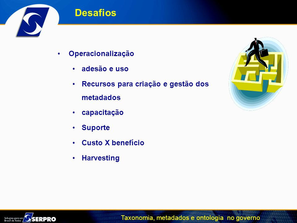 Taxonomia, metadados e ontologia no governo Operacionalização adesão e uso Recursos para criação e gestão dos metadados capacitação Suporte Custo X be