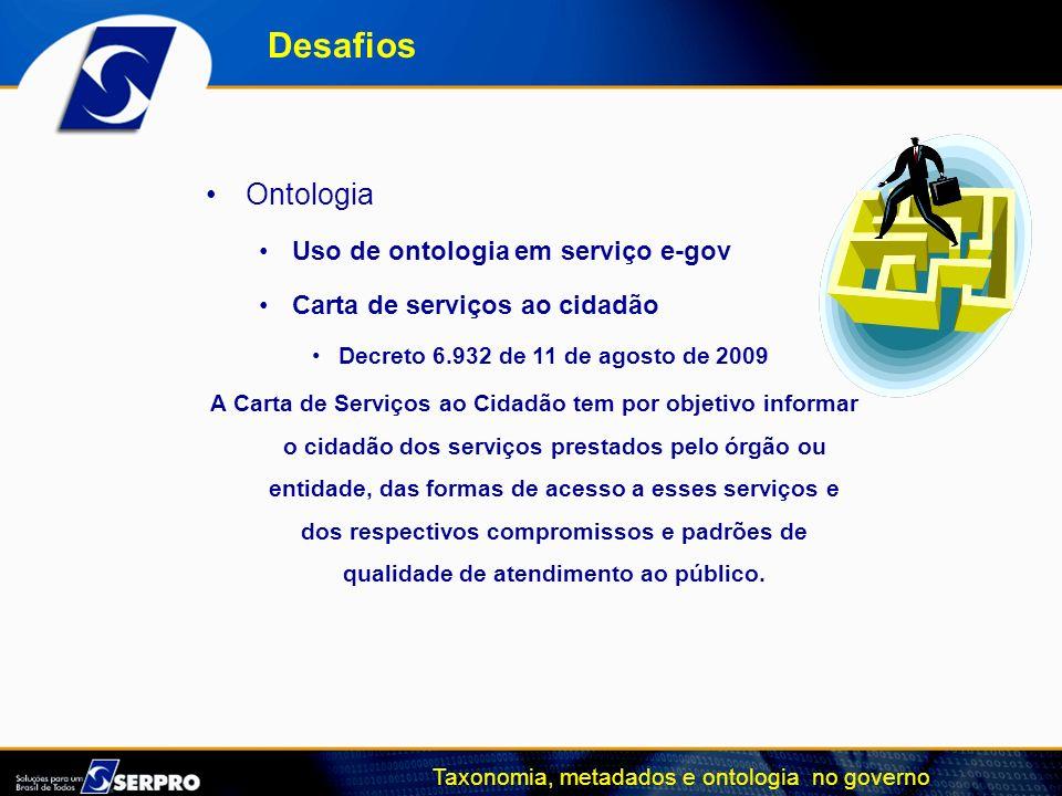 Taxonomia, metadados e ontologia no governo Ontologia Uso de ontologia em serviço e-gov Carta de serviços ao cidadão Decreto 6.932 de 11 de agosto de