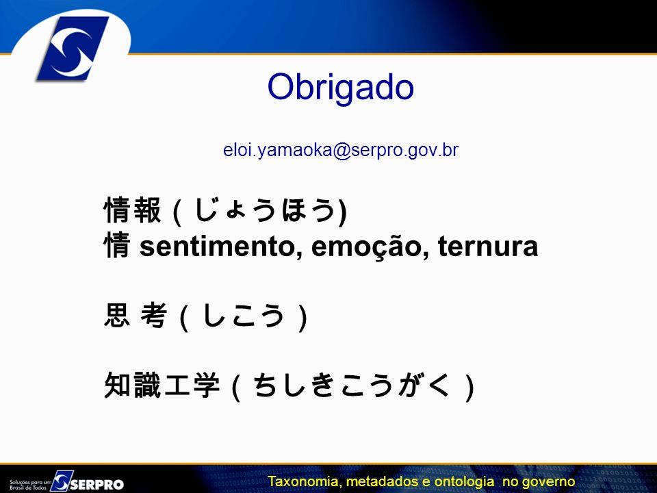 Taxonomia, metadados e ontologia no governo Obrigado eloi.yamaoka@serpro.gov.br ) sentimento, emoção, ternura