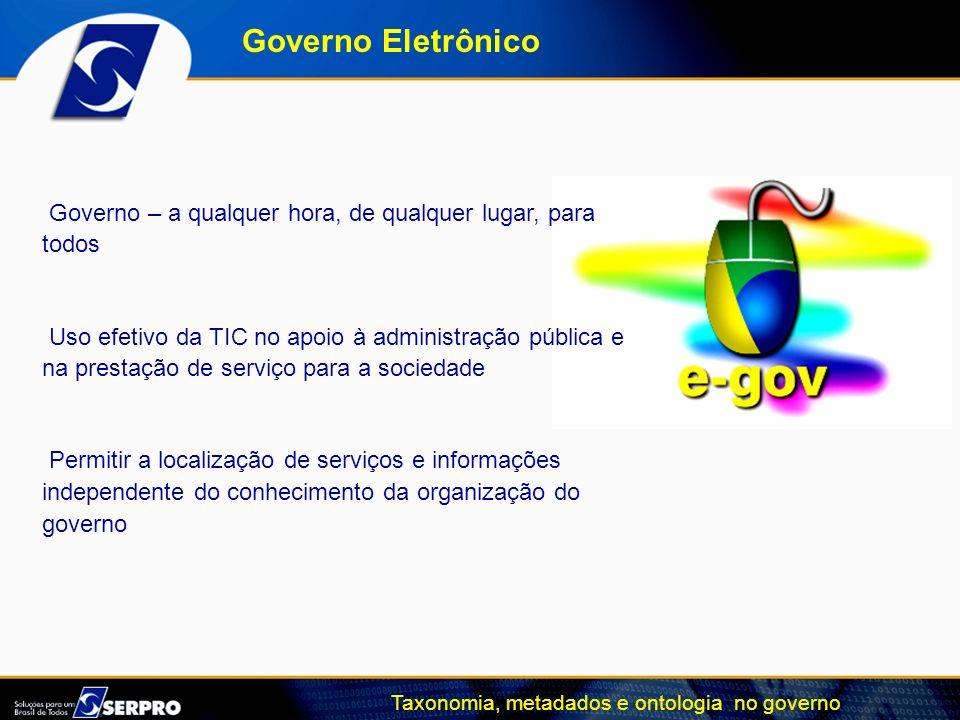 Governo Eletrônico Governo – a qualquer hora, de qualquer lugar, para todos Uso efetivo da TIC no apoio à administração pública e na prestação de serv