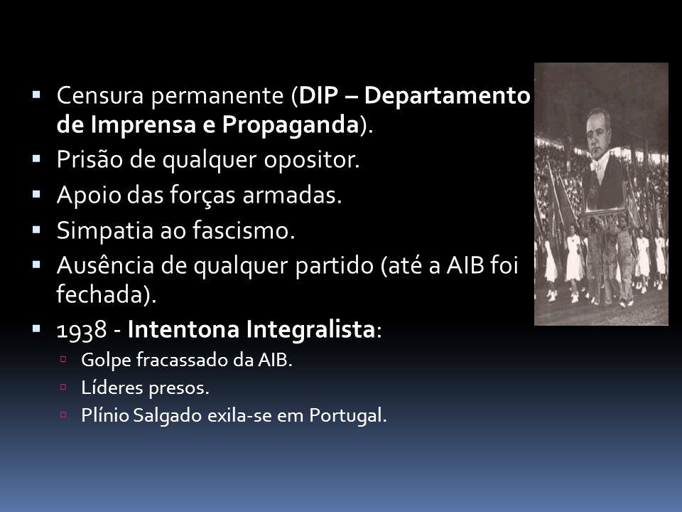 Censura permanente (DIP – Departamento de Imprensa e Propaganda). Prisão de qualquer opositor. Apoio das forças armadas. Simpatia ao fascismo. Ausênci