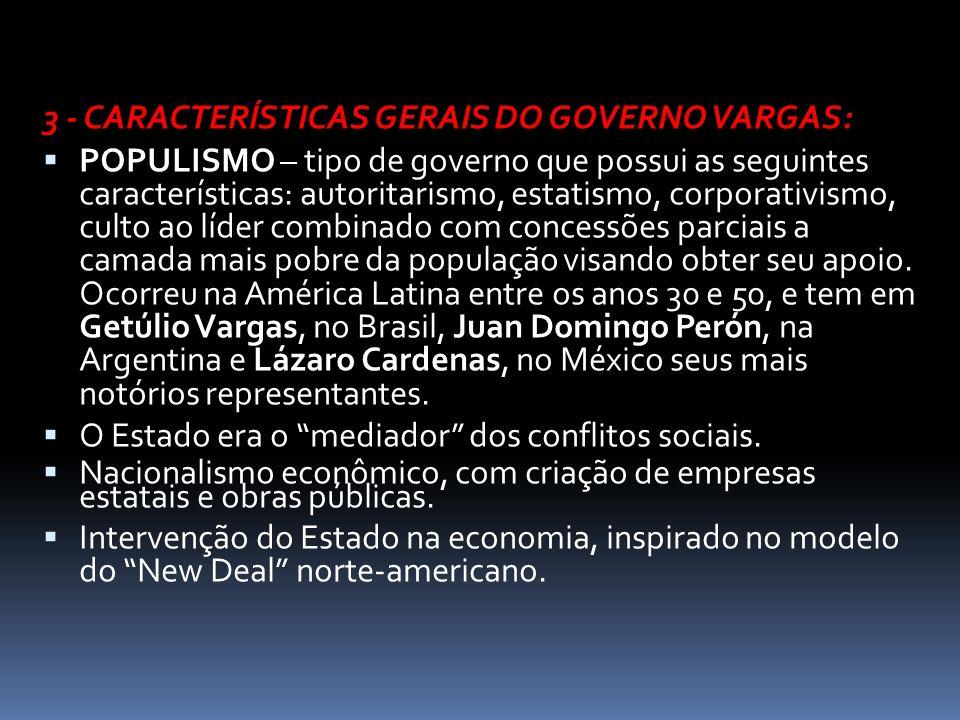 3 - CARACTERÍSTICAS GERAIS DO GOVERNO VARGAS: POPULISMO – tipo de governo que possui as seguintes características: autoritarismo, estatismo, corporati