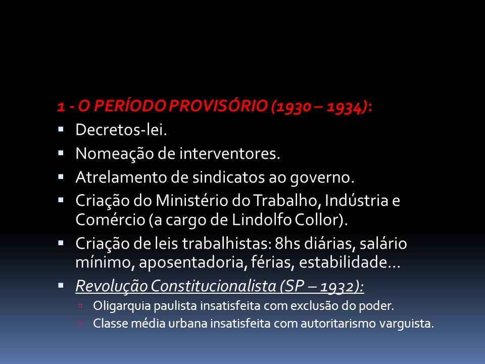 1 - O PERÍODO PROVISÓRIO (1930 – 1934): Decretos-lei. Nomeação de interventores. Atrelamento de sindicatos ao governo. Criação do Ministério do Trabal