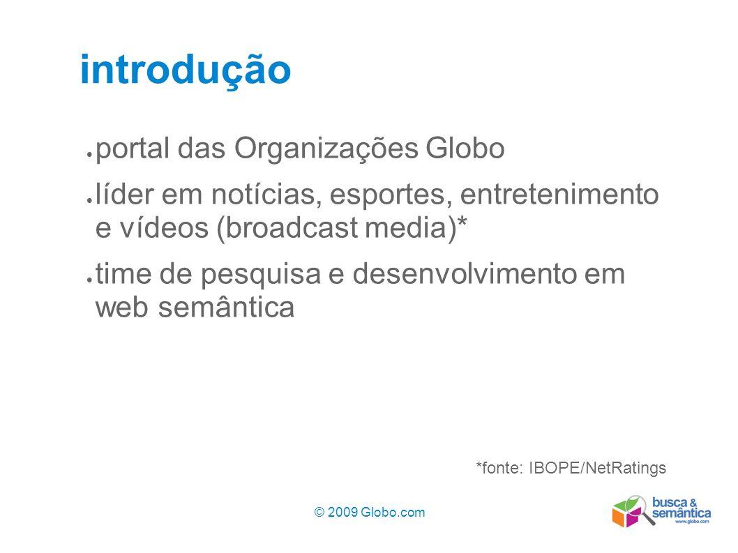 © 2009 Globo.com 3 introdução portal das Organizações Globo líder em notícias, esportes, entretenimento e vídeos (broadcast media)* time de pesquisa e