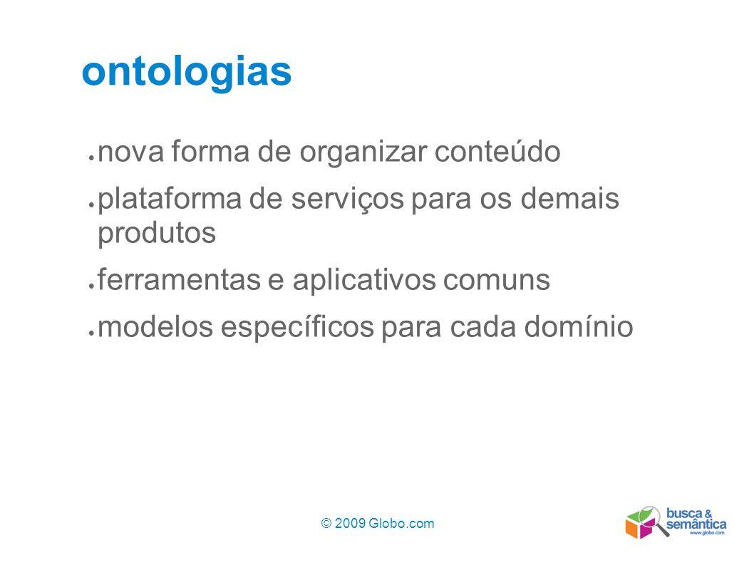 © 2009 Globo.com 5 ontologias nova forma de organizar conteúdo plataforma de serviços para os demais produtos ferramentas e aplicativos comuns modelos